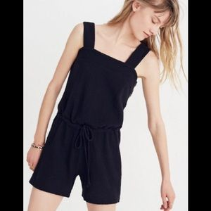 Madewell side button drawstring romper in Black XS